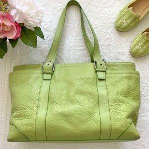 COACH Large Leather Tote Lime Green Shoulder Bag
